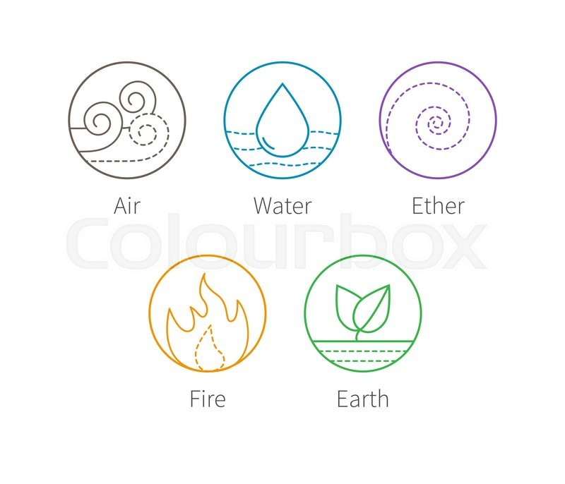 Ayurvedic elements water fire air earth and ether icons for 5th element salon