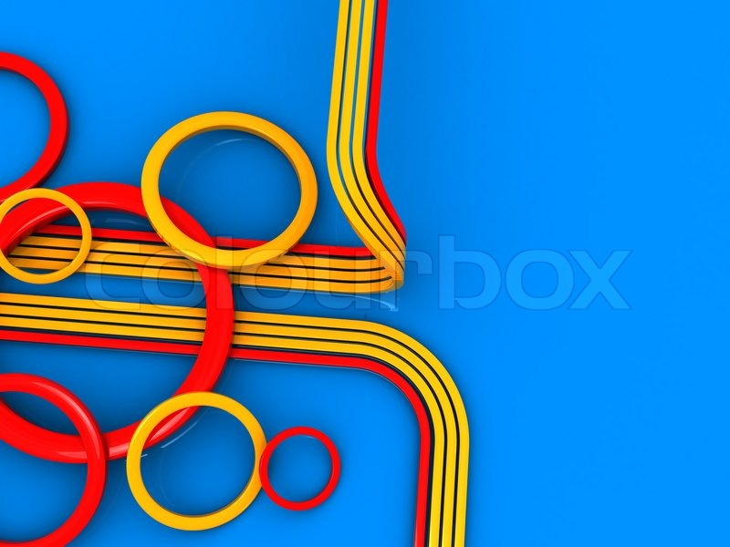 Abstract 3d illustration of lines and circles ornament background, stock photo