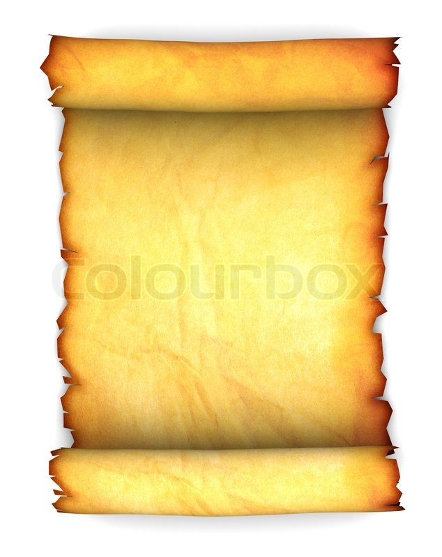 Abstract 3d Illustration Of Ancient Paper Scroll Over White Background