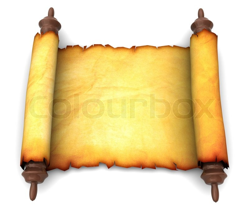 3d illustration of an ancient scroll over white background ... Vertical Scrolls Clipart
