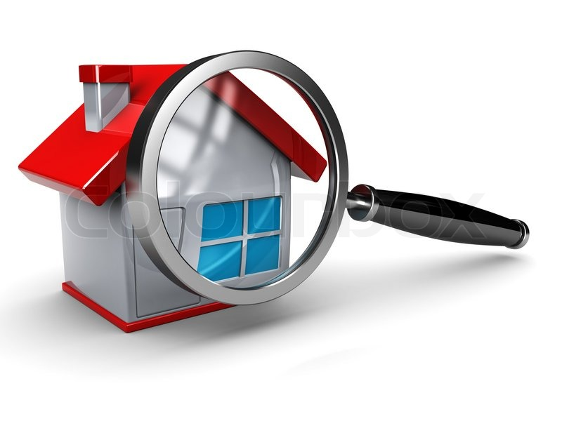 Abstract 3d illustration of house with magnify glass for Home searcher