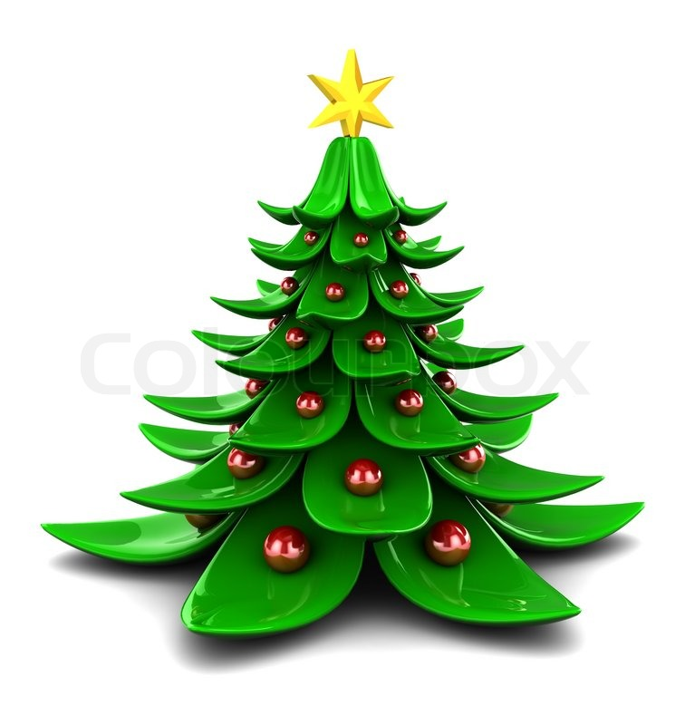 D illustration of stylized christmas tree over white