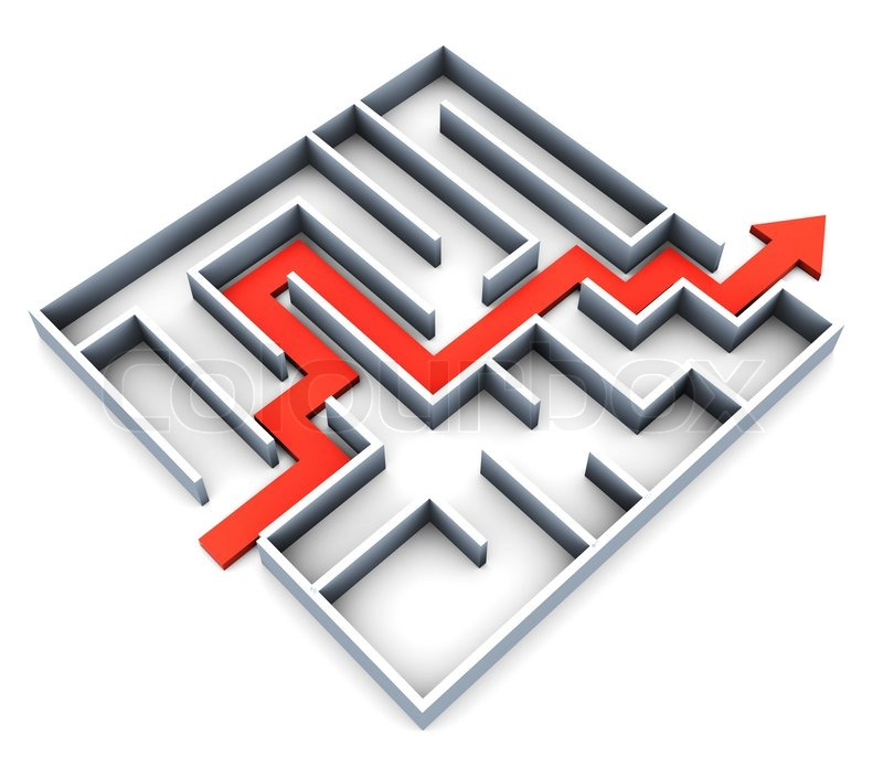 Abstract 3d illustration of succefull completed maze with red track arrow, stock photo