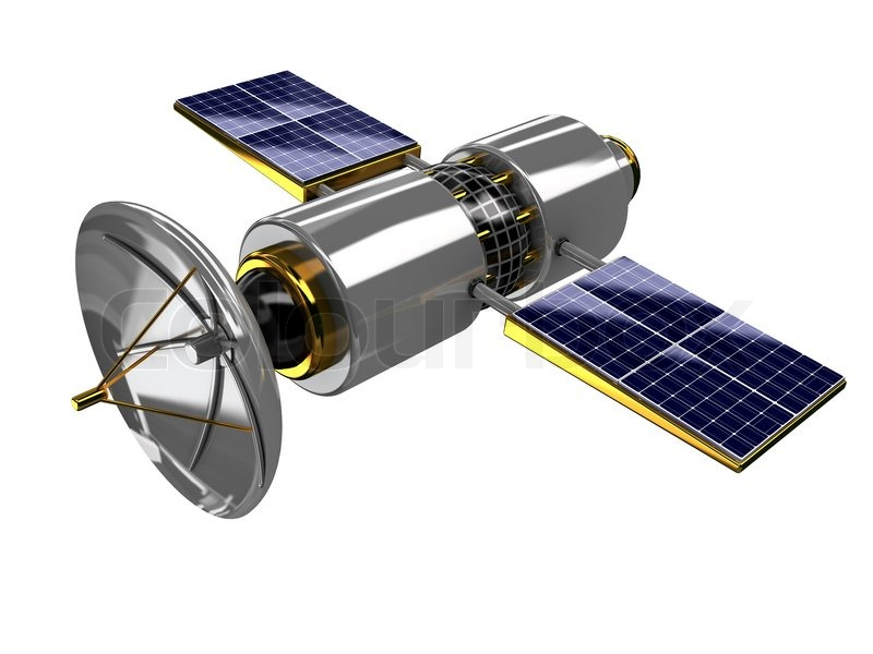 3d Illustration Of Broadcasting Satellite Isolated Over