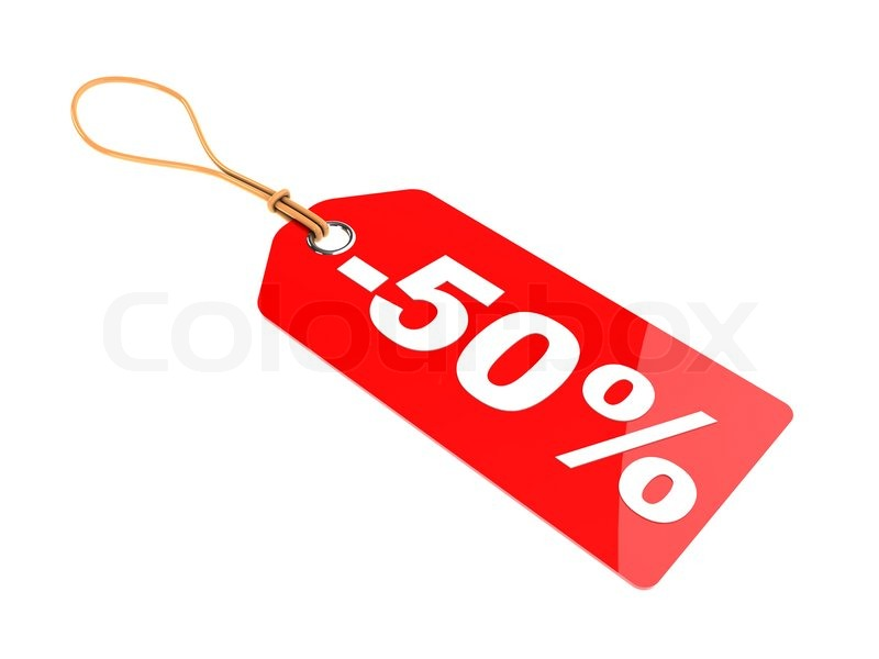 3d illustration of 50 percent discount tag isolated over white background Stock Photo Colourbox