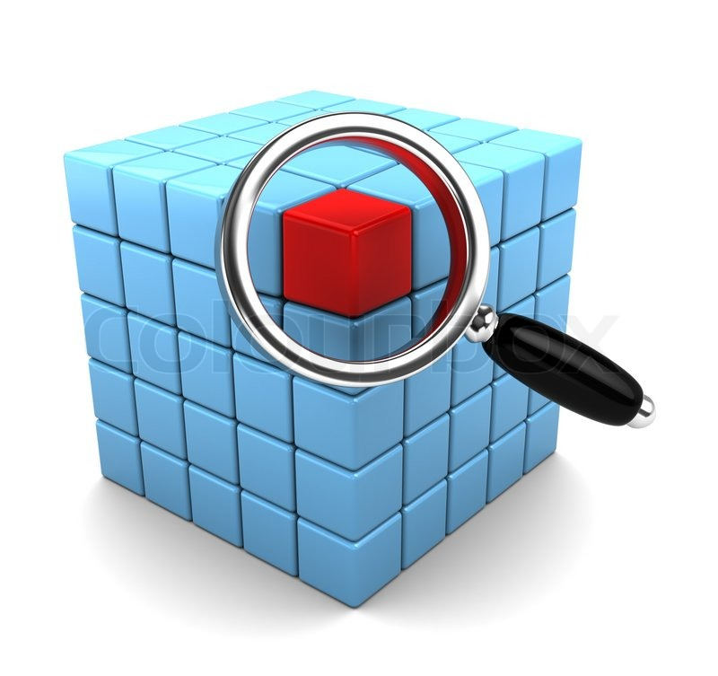 3d illustration of cube structure and magnify glass, data search ...