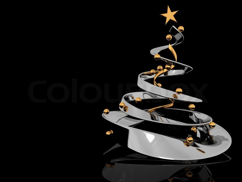 Abstract 3d illustration of stylized christmas tree over black ...