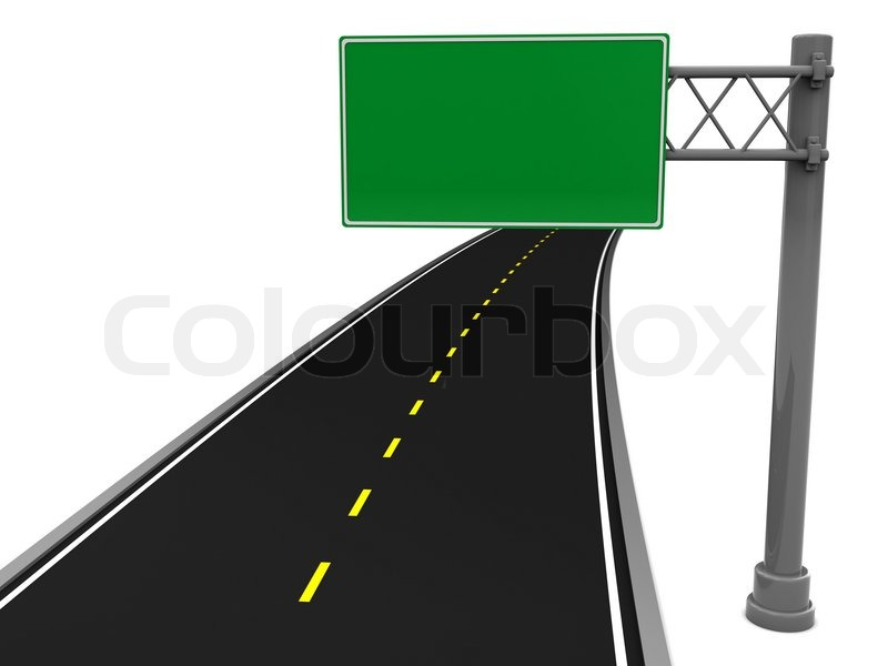 of asphalt road and blank road sign stock photo colourbox