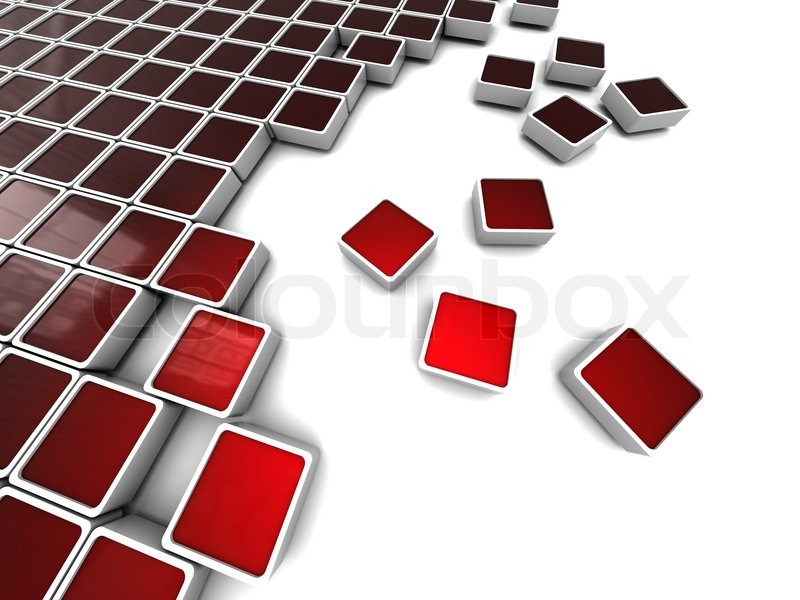 Abstract 3d Illustration Of Background With Red Blocks