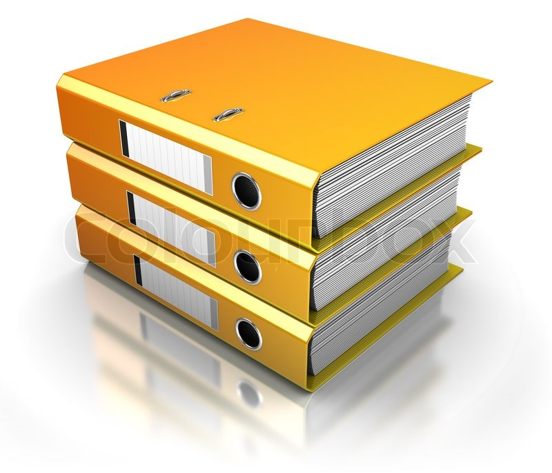 Three Documents Folders Stack Over White Background