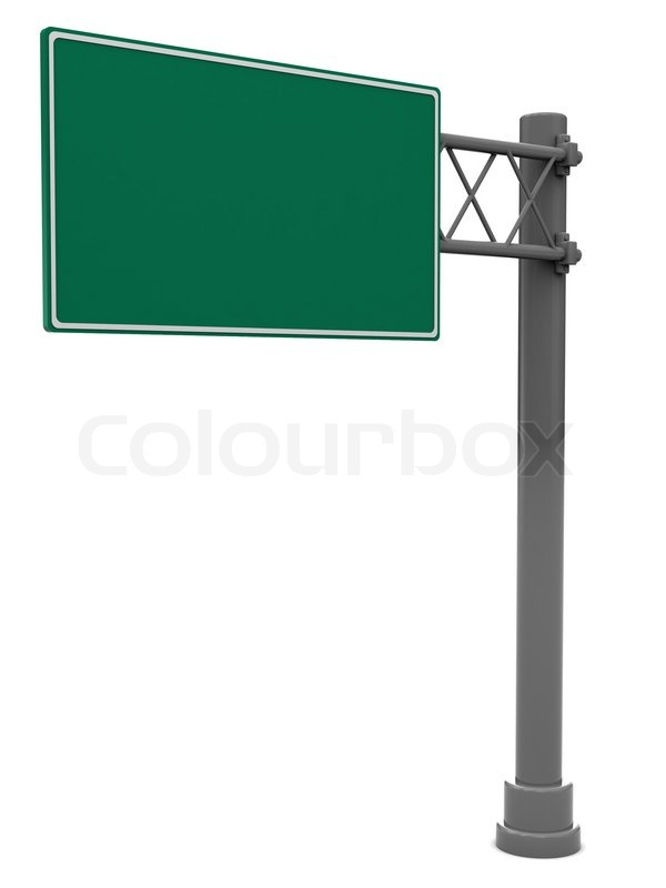 3d illustration of blank road sign isolated over white