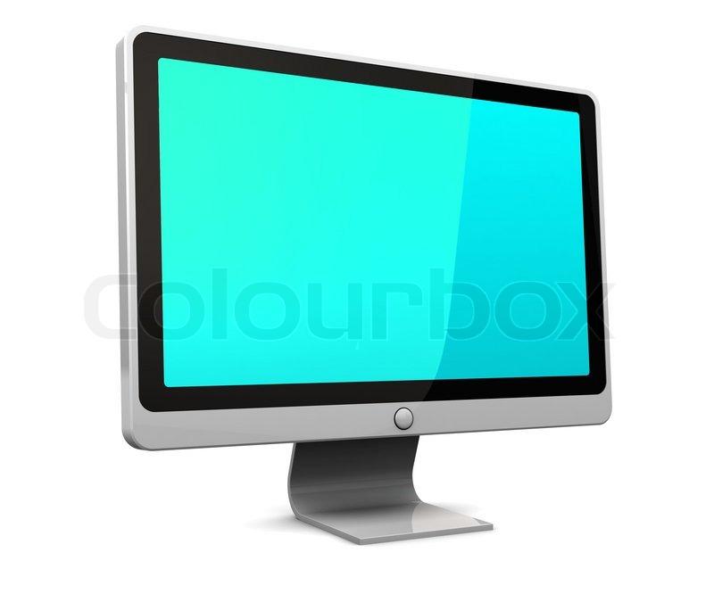 3d darstellung der computer monitor mit gr n blauen bildschirm ber wei em hintergrund. Black Bedroom Furniture Sets. Home Design Ideas