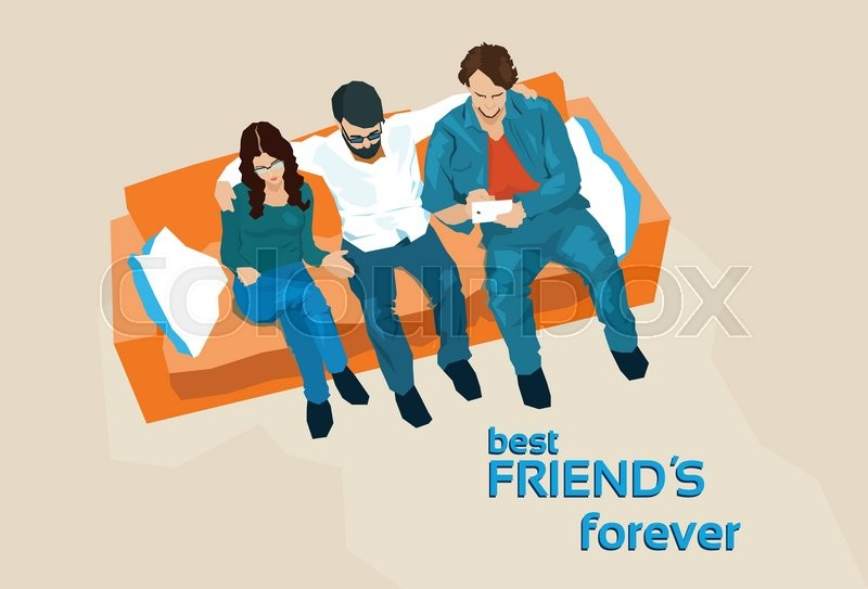 Friends Group Sit On Sofa Top Angle Stock Vector Colourbox