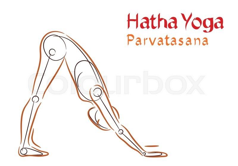 Vector Hatha Yoga Parvatasana On A White Background