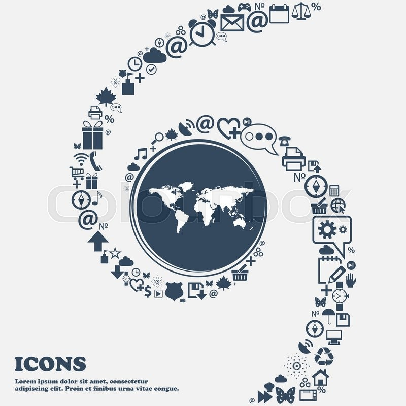 Globe Sign Icon World Map Geography Symbol In The Center Around