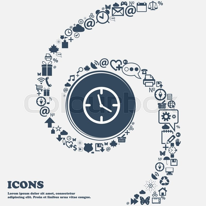 Clock Time Sign Icon Mechanical Watch Symbol In The Center Around