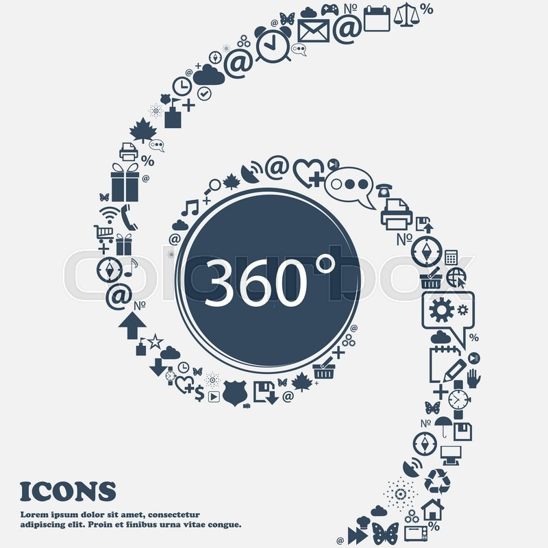 Angle 360 Degrees Sign Icon Geometry Math Symbol Full Rotation In