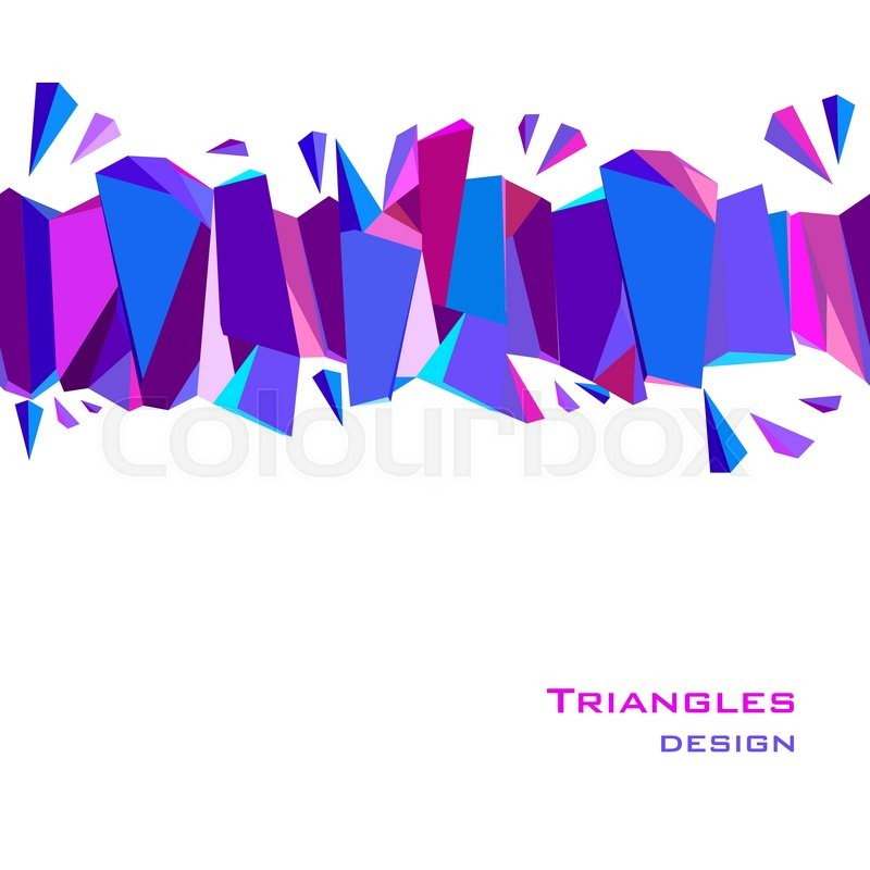 horizontal top blue border geometric design blue red pink and purple geometric abstract triangles border design background
