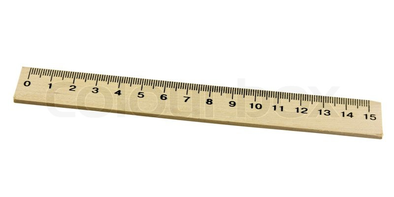metric wood ruler isolated on white background stock