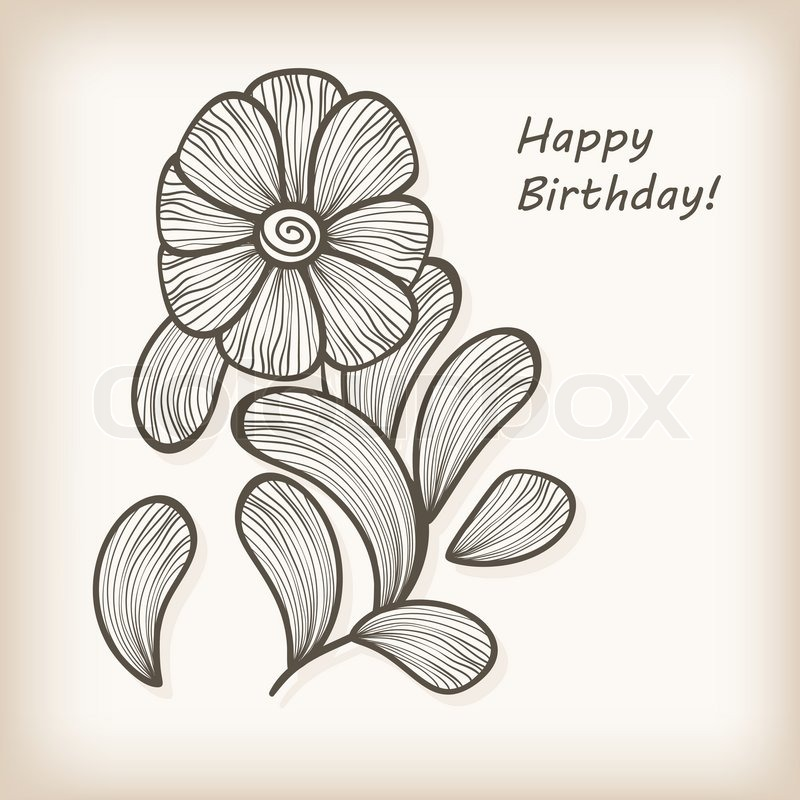 vector greeting card with hand drawn abstract flower