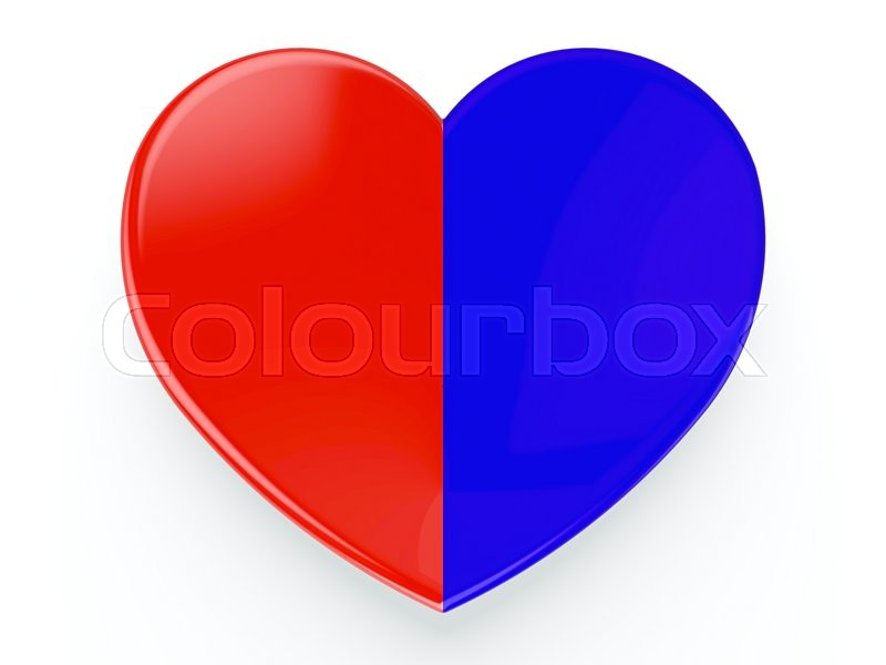 Half Red And Half Blue Heart On White Background Stock Photo