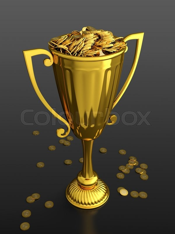 3D Render Of Trophy Cup Full Money On Black Background