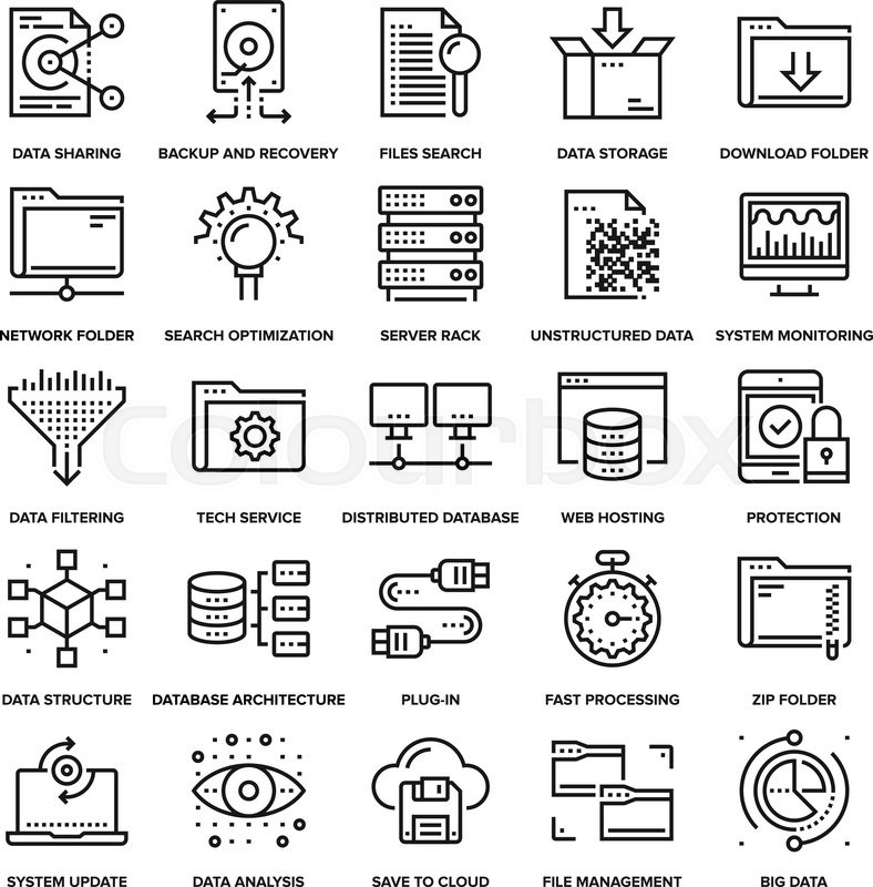 Abstract Vector Collection Of Line Data Management Icons