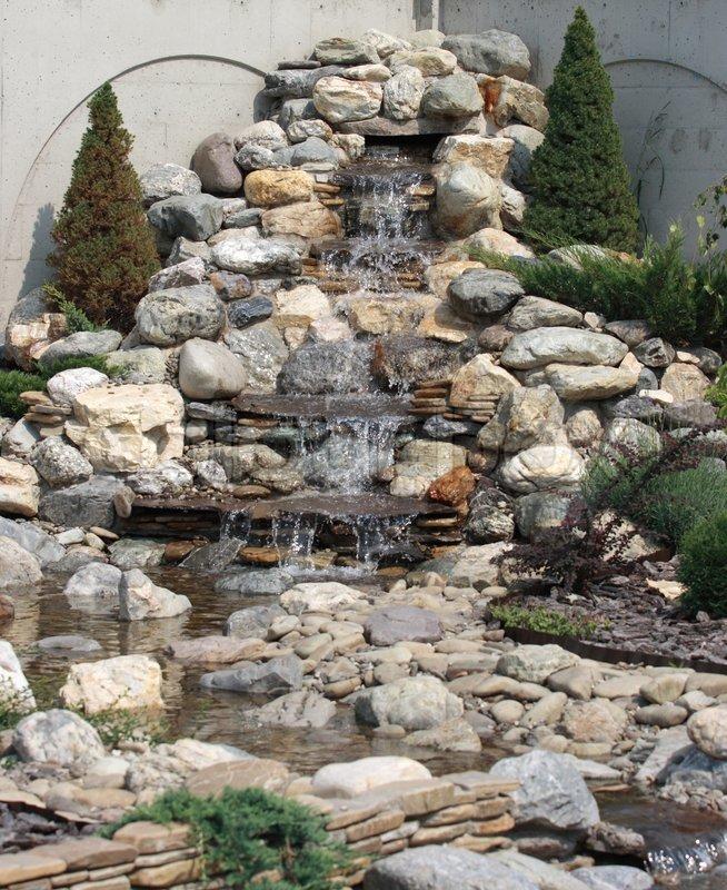 Decorative waterfall of stones, stock photo