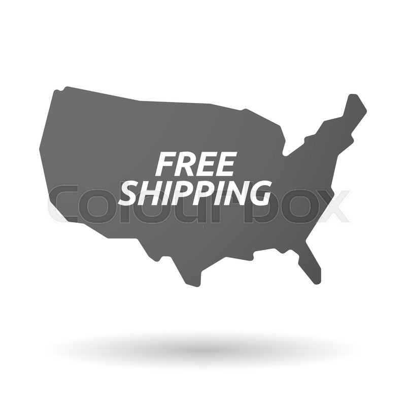 Illustration Of An Isolated USA Map Icon With The Text FREE - Us map logo