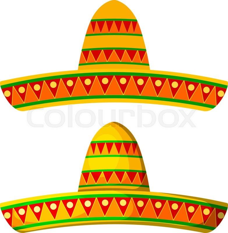 two colored cartoon sombrero on a white background isolate wide rh colourbox com sombrero cartoon pictures sombrero cartoon hat