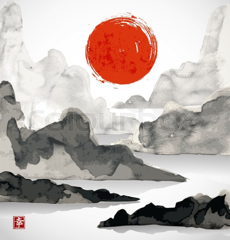 Landscape With Mountains Red Sun And Sea Traditional