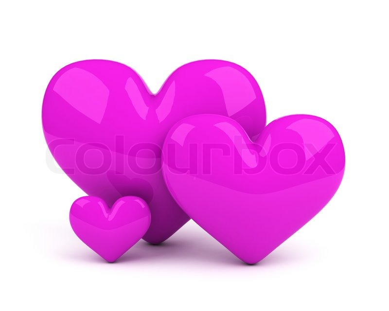Three Violet Hearts Symbol Of Loving Couple And Their Child Stock