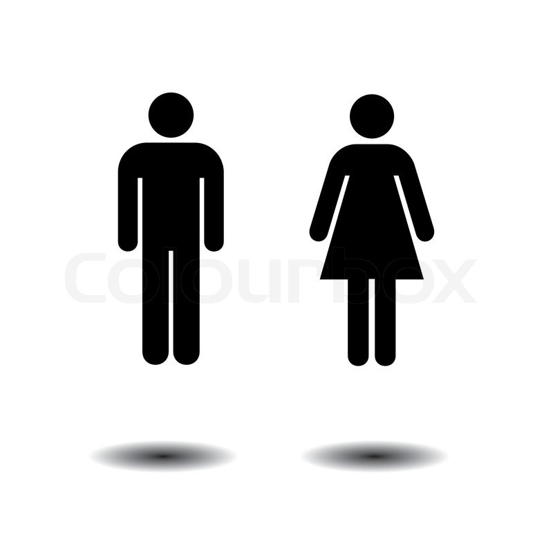 Bathroom Sign Person woman thinking sitting on toilet, part of people in the bathroom