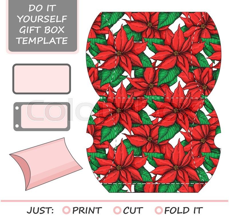 Favor gift box die cut box template with poinsettia pattern favor gift box die cut box template with poinsettia pattern great for christmas gift packaging vector solutioingenieria Images