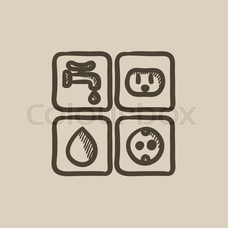 Utilities signs electricity and water vector sketch icon isolated on ...