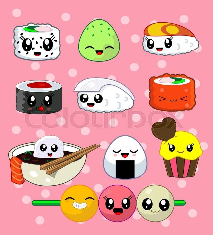 Cute Kawaii Sushi With Cute Faces. Sushi Roll Set With Cake, California  Roll, Sake, Ika, Tekka, Masago, Rise Ball, Udon . Japanese Food, Vector  Illustration ...