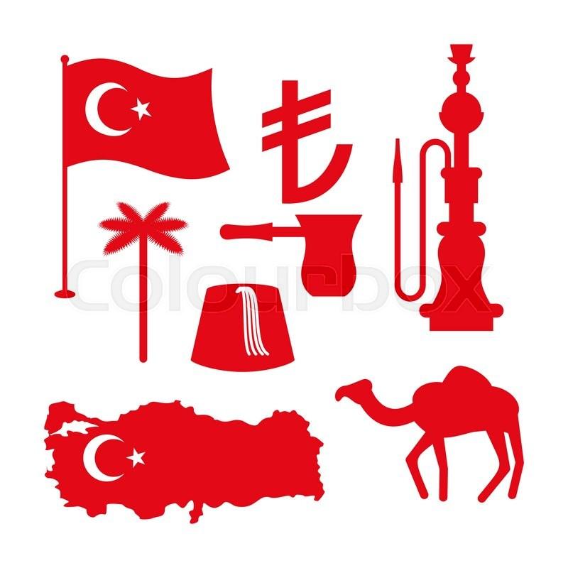 Turkey symbol set. Turkish national icon. State traditional sign ...