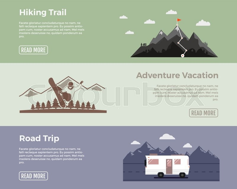 Camping vector flat banners set. Adventure hiking trail banner, extreme adventure vacation banner, road trip banner. With outdoors symbols - van, mointains, snowboard vector elements for web design, vector