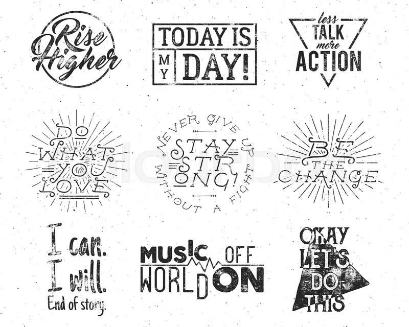 Inspirational Slogans Unique Inspirational Typography Life Style Quotes Set Motivation Retro
