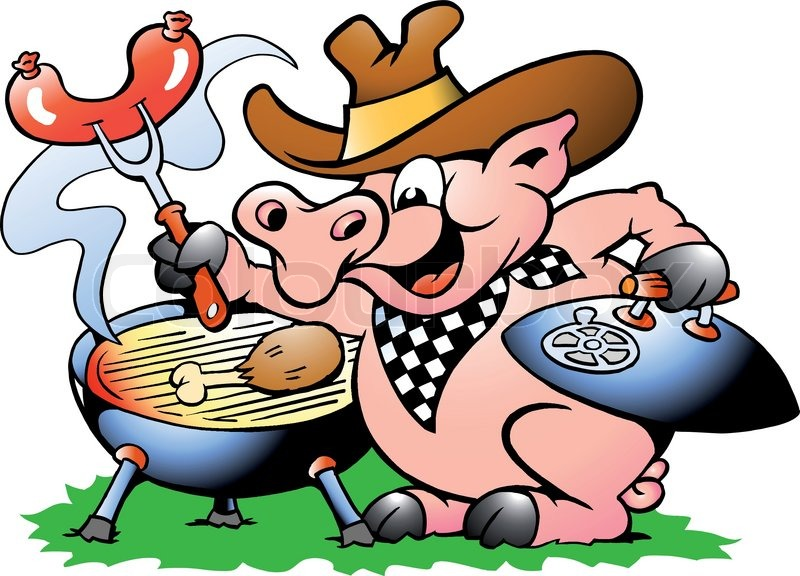 hand drawn vector illustration of an pig sitting and making bbq