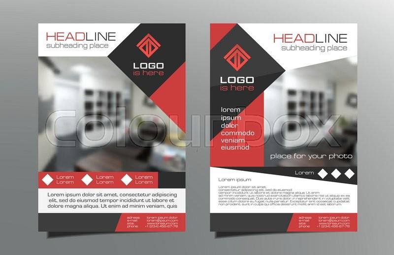 Greyred Brochure Flyer Template Stock Vector Colourbox