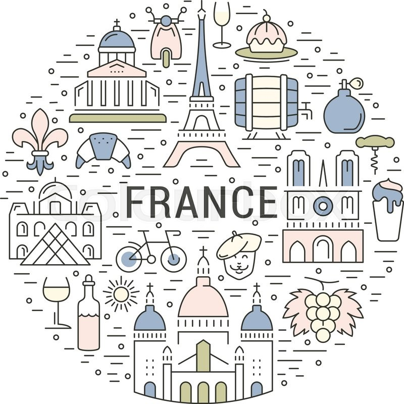 France And Paris City Concept Symbols Isolated On Background Web