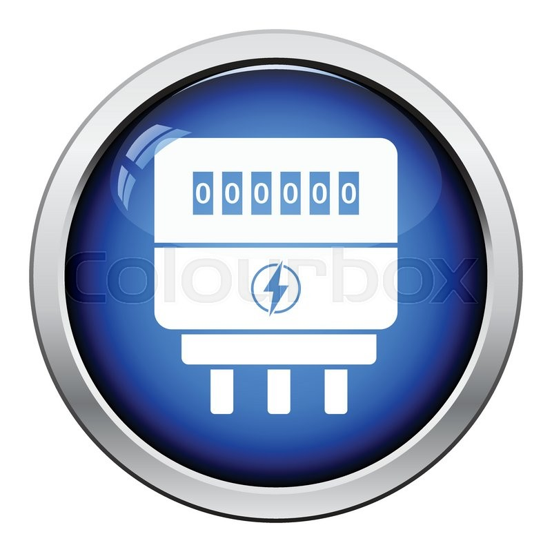 Energy Meter Icon : Electric meter icon glossy button design vector
