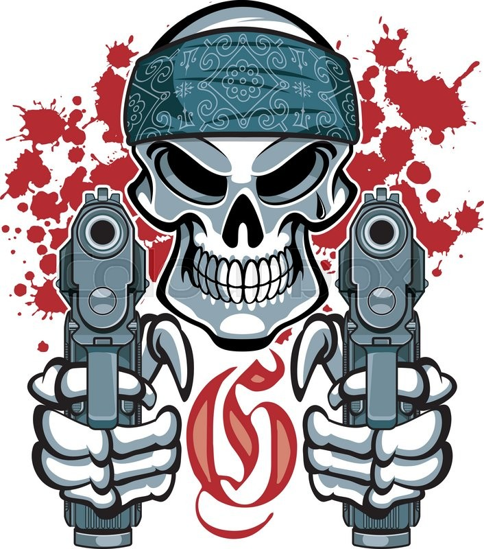 Gangster Skull With Bandana And Pistols