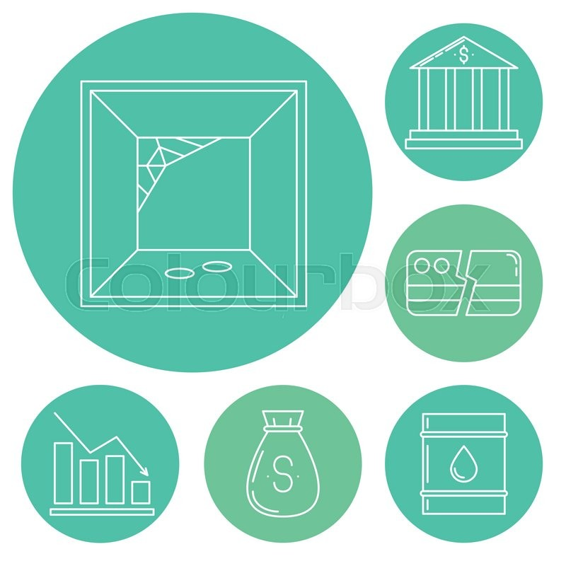 Set Of Economy Crysis Icons Vector Illustration Stock Vector