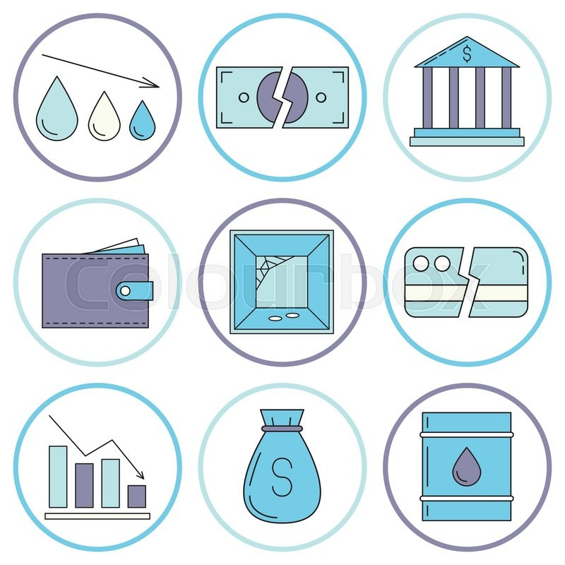 Set Of Economy Crysis Icons Vector Stock Vector Colourbox