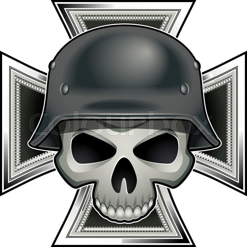 Skull With German World War 2 Steel Helmet Over Iron Cross Medal