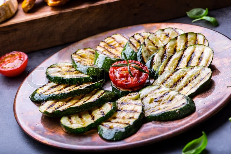 Grilled Zucchini Tomato With Chili Pepper Italian Mediterranean Or