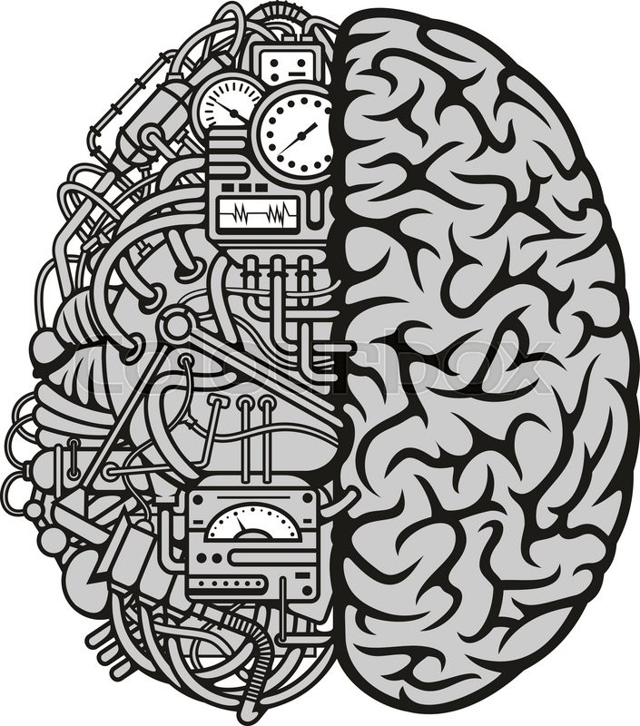 Human machine brain symbol with detailed illustration of combined human machine brain symbol with detailed illustration of combined human brain with automatic computing engine equipments great for computer technology and ccuart Choice Image