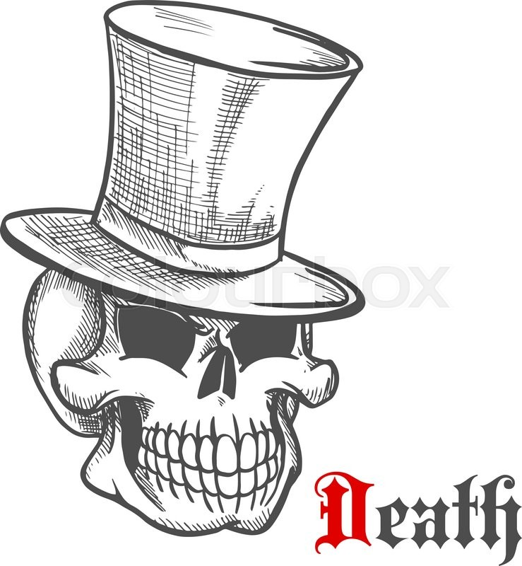 Vintage Hat Tattoos: Elegant Mister Skull Icon In Vintage ...